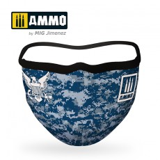 "AMMO FACE MASK ""Navy Blue Camo"""