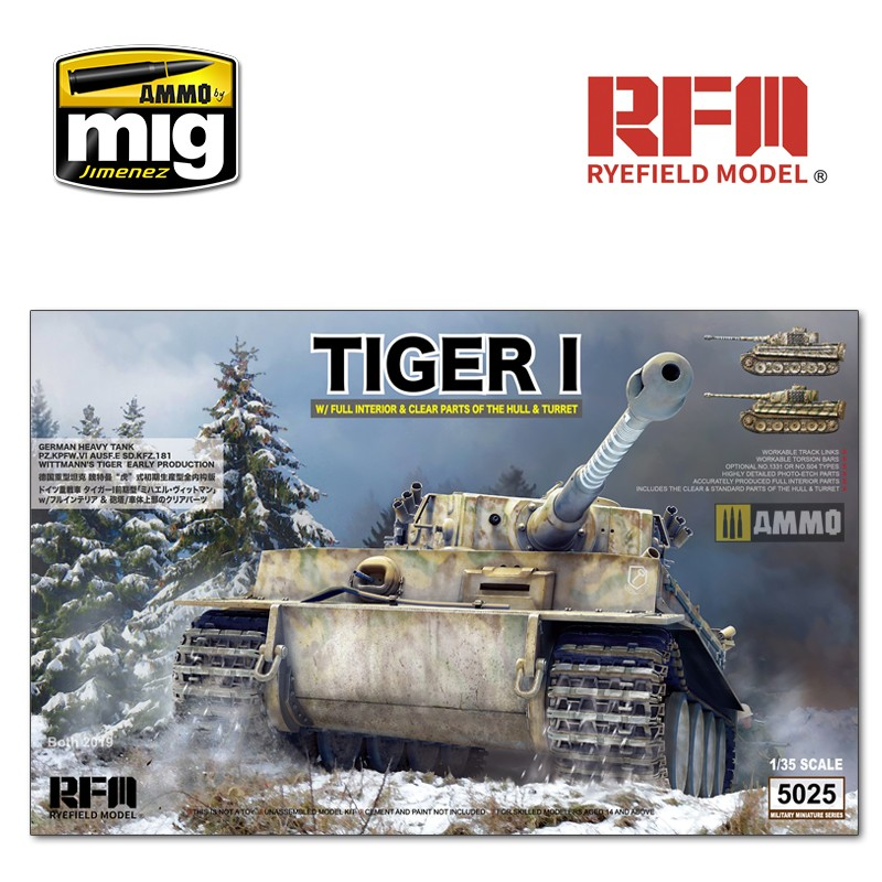 1/35 Tiger Early Production W/ Full Interior & Clear Parts & Workable Track Links - AMMO by Mig Jimenez