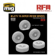 1/35 M-ATV 16.0XR20 RESIN WHEEL, SET-SAGGED 4 PIECES, FLAT TIRE SET 1 PIECE